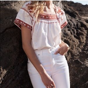 Madewell wildfield peasant blouse embroidered